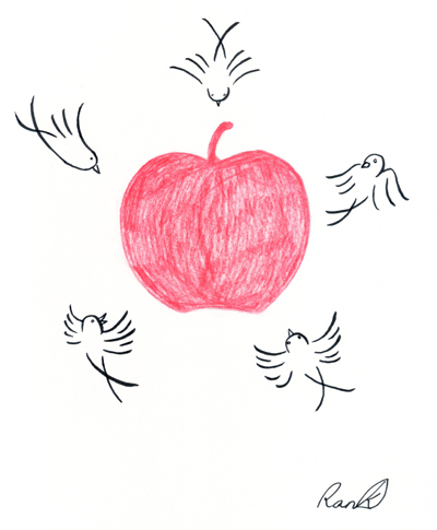 りんごと鳥001